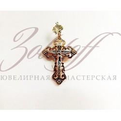 Ажурный золотой крест с камнями