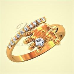 Ручка ребенка золотое кольцо с бриллиантами.
