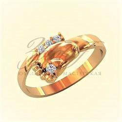 Ножка ребенка золотое кольцо с бриллиантами