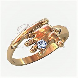 Ручка ребенка золотое кольцо с одним камнем