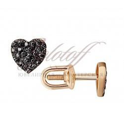 Пусеты золотые с фианитами Сердечки