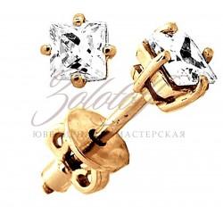 Пусеты золотые с квадратными фианитами